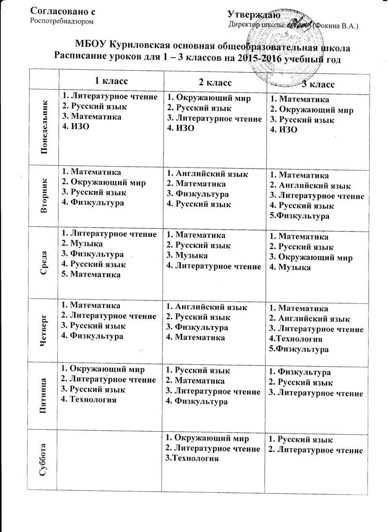 Расписание уроков для 1-3 классов